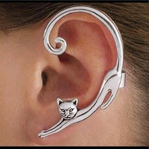 Jewelry - New Silver Cat Pierced With Cuff Earring